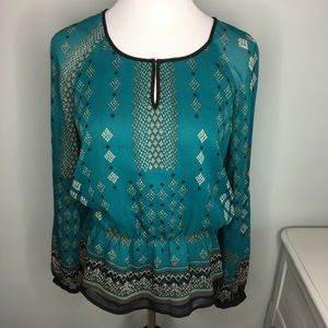 Adrianna Papell Teal Pattern Long Sleeve Blouse S
